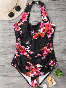 Ruched Plus Size Floral Swimwear
