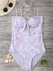 Cut Out Tie-Dyed Bowknot Swimwear - Light Purple S