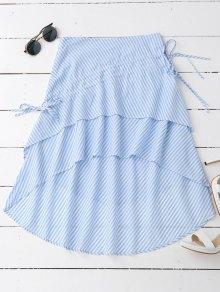 Striped Layered Asymmetrical Skirt - Stripe M
