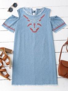 Embroidered Cold Shoulder Denim Casual Dress - Denim Blue L