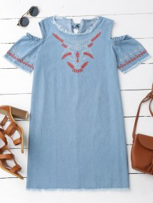 Embroidered Cold Shoulder Denim Casual Dress - Denim Blue S