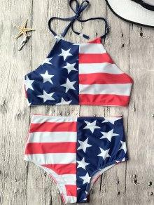High Waisted USA Patriotic Bikini Set