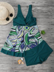 Twist Printed Skirted Tankini Top With Boxers - Blackish Green Xl