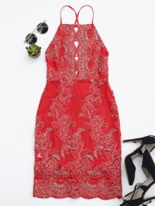 Embroidered Bodycon Mini Beach Dress - Red S