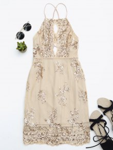 Sequins Apron Neck Beach Dress - Yellowish Pink L
