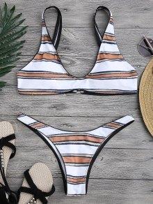 Striped High Cut Scoop Bikini Set