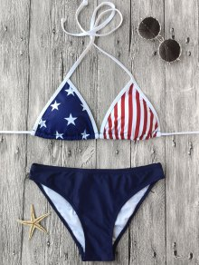 Halter Patriotic American Flag Bikini Set - Purplish Blue M