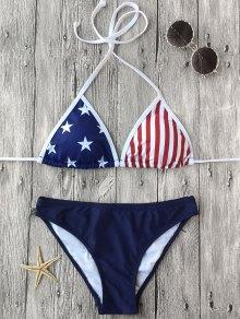 Halter Patriotic American Flag Bikini Set - Purplish Blue S