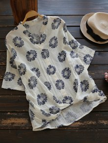 Sun Floral High Low Linen Blouse - Beige
