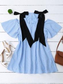 Bowknot Straps Cold Shoulder Mini Dress - Stripe S