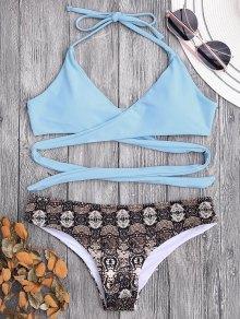 Padded Retro Print Wrap Bikini - Light Blue S