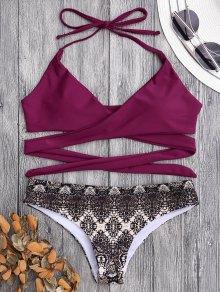 Padded Retro Print Wrap Bikini - Burgundy L