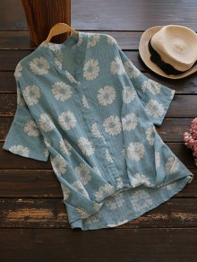 Sun Floral High Low Linen Blouse - Light Blue