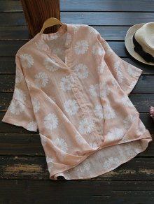 Sun Floral High Low Linen Blouse