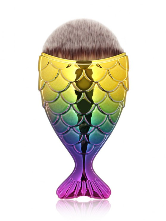 trendy Mermaid Design Portable Facial Makeup Brush - YELLOW + PURPLE