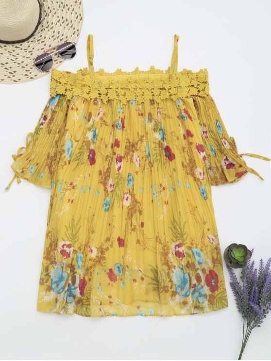 women Floral Cami Pleated Dress With Crocheted Lace - YELLOW M