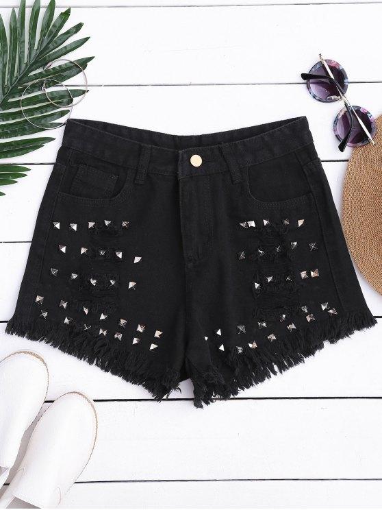 Ripped Cutoffs Rivet Denim Shorts - Negro M