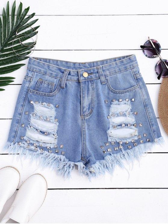 Ripped Cutoffs Rivet Denim Shorts - Denim Blue L