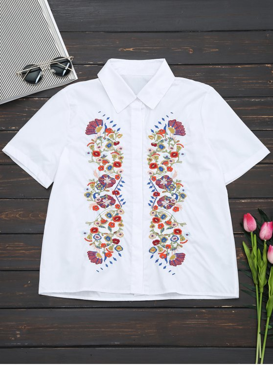 outfits Short Sleeve Floral Embroidered Shirt - WHITE M