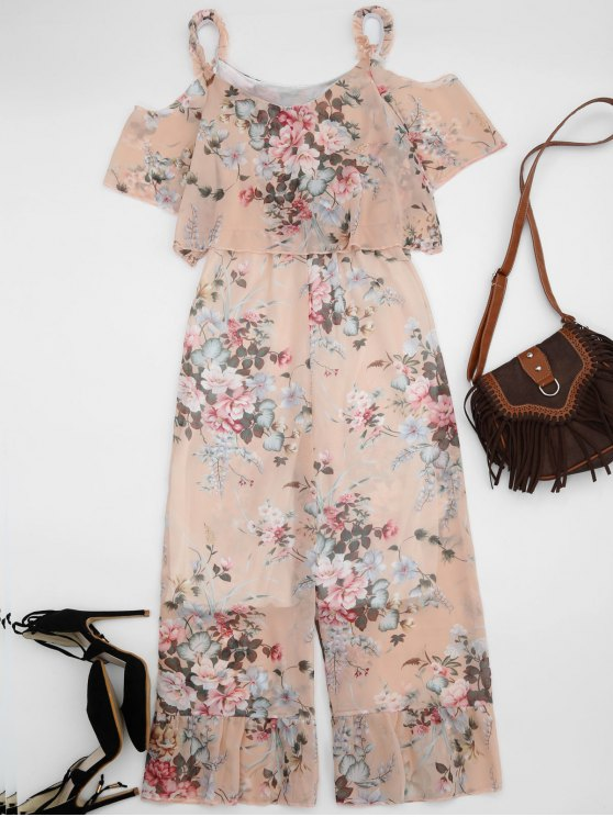 Ruffle Cold Shoulder Floral Palazzo Jumpsuit - Rose Abricot Clair L