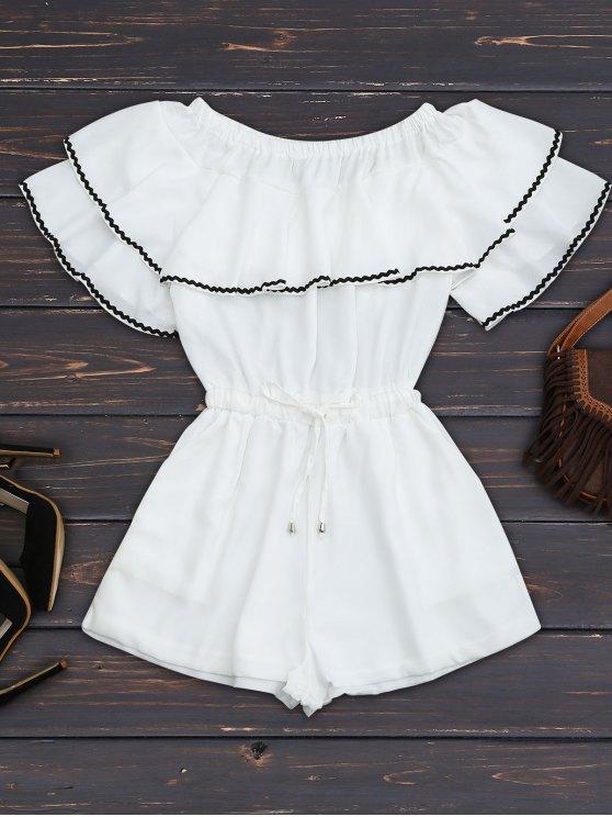 Cintura con cordón de hombro con volantes - Blanco L