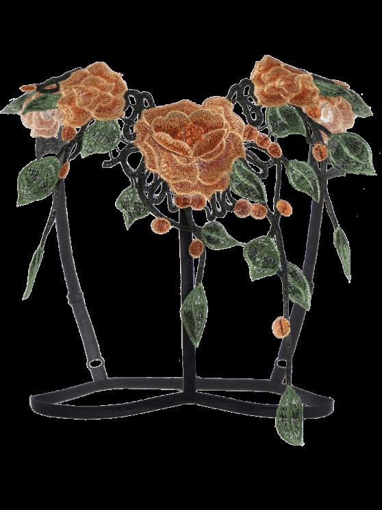 Caged Floral Applique Bra Correas - Negro M