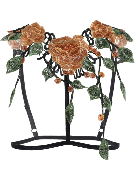 caged floral applique bra straps black intimates s zaful. Black Bedroom Furniture Sets. Home Design Ideas