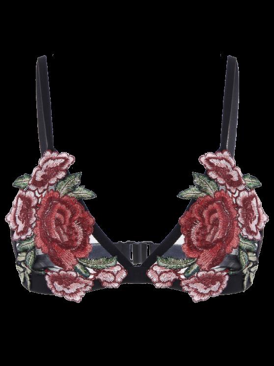 Sujetador de cierre floral para apliques - Negro L