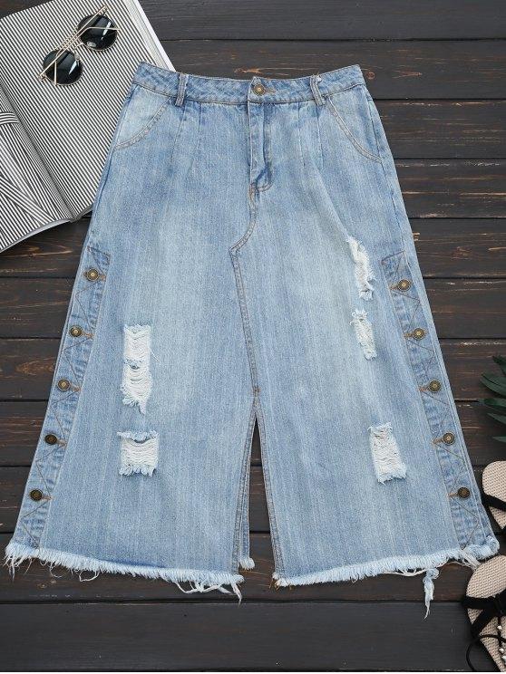 buy Ripped Button Up Wide Leg Capri Jeans - DENIM BLUE L