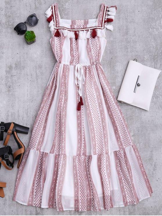 trendy Drawstring Printed Tassels Midi Tank Dress - WHITE S