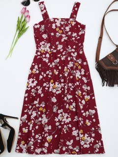 Fit And Flare Floral Flowy Sundress - Red Xl