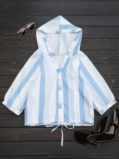 Hooded Stripes Drawstring Hem Top - Stripe