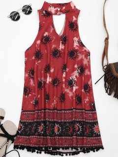 Choker Mask Graphic Turnic Dress With Fuzzy Balls - Wine Red S
