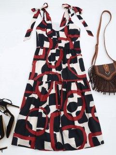 Tie Shoulder Printed Sleeveless Sundress - S