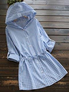Longline Drawstring Checked Shirt With Hood - Plaid L