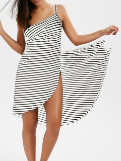 Striped Open Back Multiway Wrap Cover-ups Dress - White L