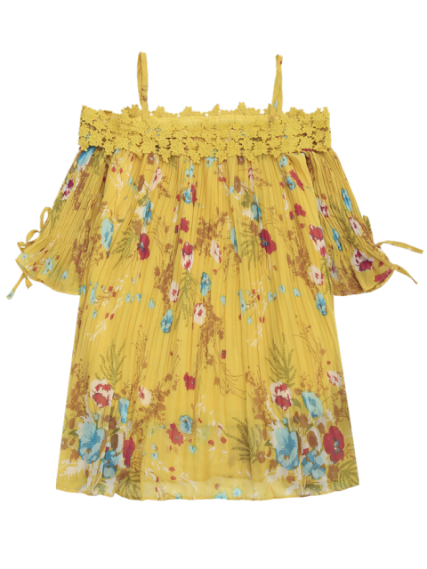 fancy Floral Cami Pleated Dress With Crocheted Lace - YELLOW L Mobile