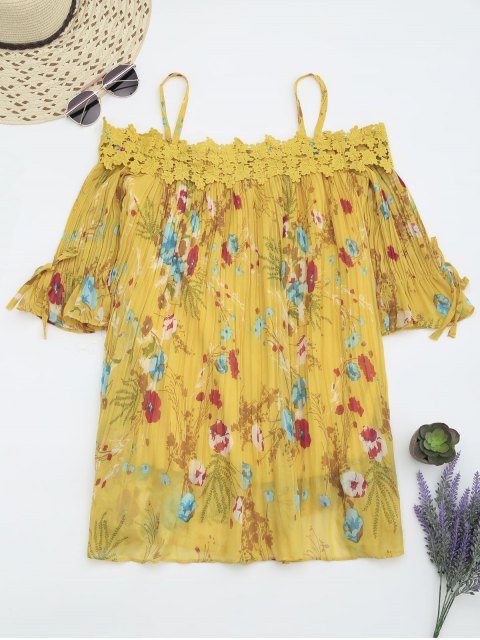 women Floral Cami Pleated Dress With Crocheted Lace - YELLOW M Mobile