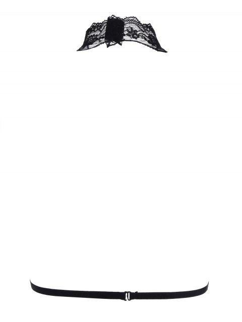 fashion Cupless Bondage Lace Bra Straps - BLACK S Mobile