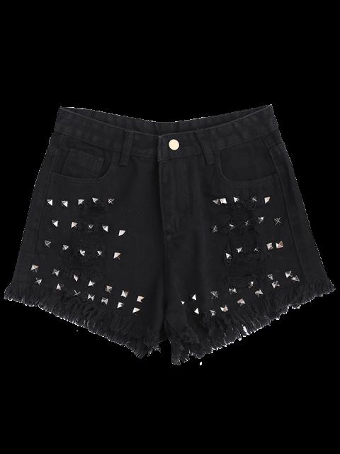 latest Ripped Cutoffs Rivet Denim Shorts - BLACK S Mobile