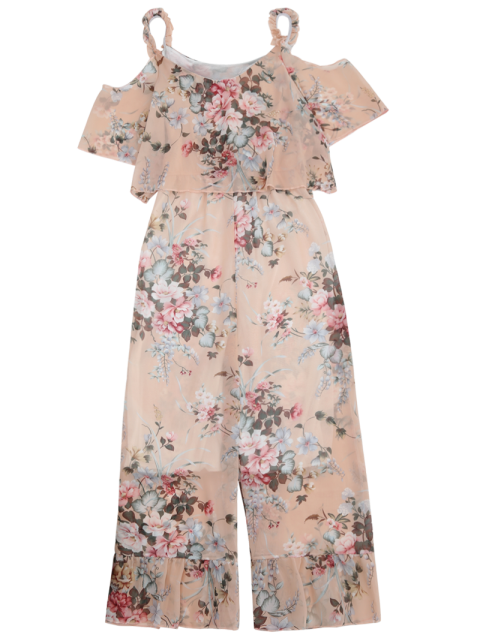 outfits Ruffle Cold Shoulder Floral Palazzo Jumpsuit - LIGHT APRICOT PINK S Mobile