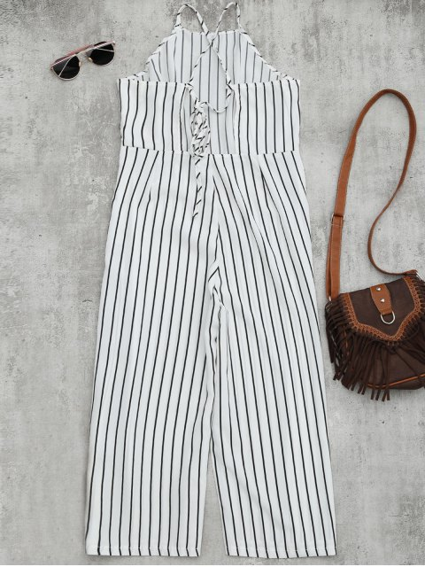 women Striped Open Back Wide Leg Jumpsuit - WHITE M Mobile