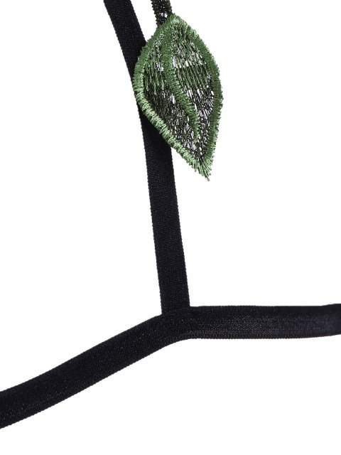 lady Caged Floral Applique Bra Straps - BLACK M Mobile