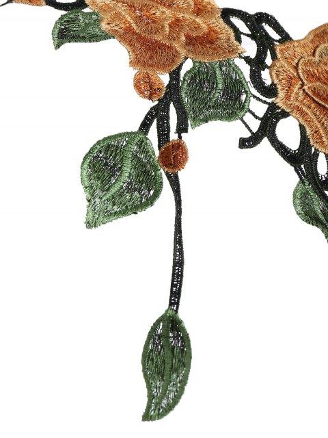 best Caged Floral Applique Bra Straps - BLACK S Mobile