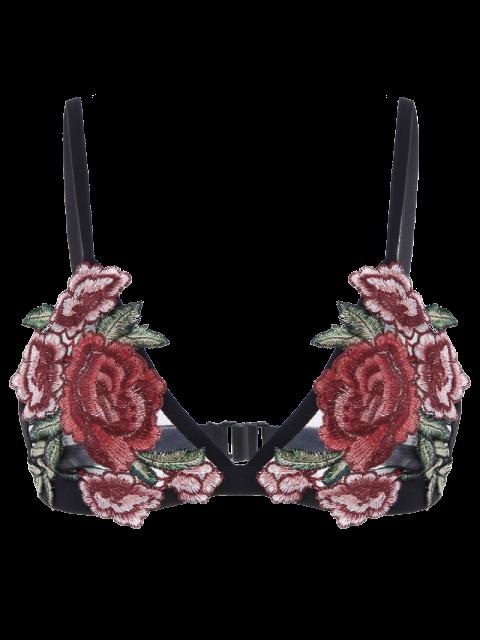 hot Back Closure Floral Applique Mesh Bra - BLACK M Mobile