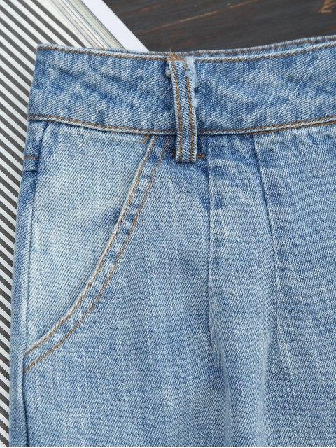 women Ripped Button Up Wide Leg Capri Jeans - DENIM BLUE S Mobile