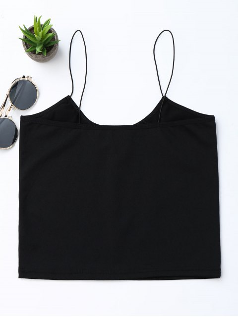 online Cropped Letter Tank Top - BLACK S Mobile