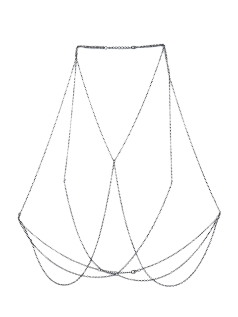 chic Bra Geometric Body Chain - SILVER  Mobile