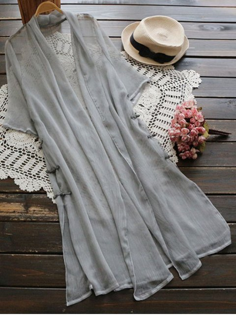 hot Longline Side Slit Frog Buttons Duster Coat - GRAY ONE SIZE Mobile