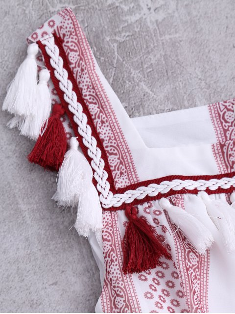trendy Drawstring Printed Tassels Midi Tank Dress - WHITE S Mobile